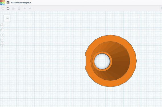 3d model for the adapter using Tinkercad